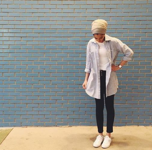 striped shirt casual hijab