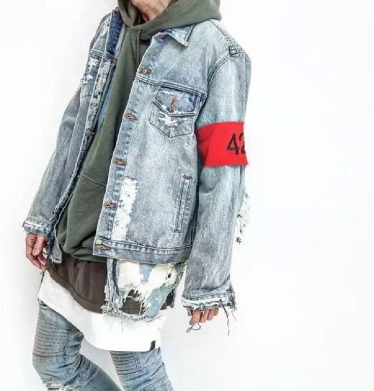 #DANG! hip-hop men's clothes brand clothing fear of god Four Two Four 424 spring summer broken hole jeans designer ripped denim jacket
