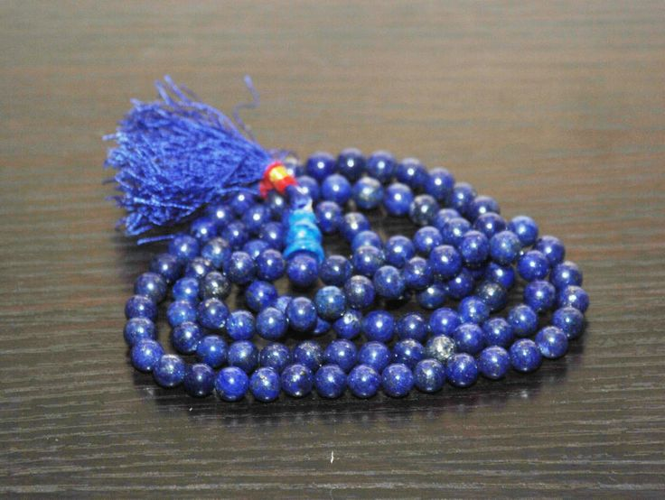 Rare Unique om tibetan prayer blue buddhist Lapis Bead Necklace rosary mala