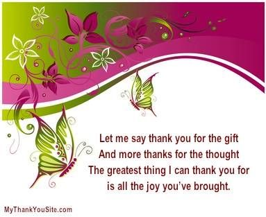 Sample Thank You Verses and Thank You Poems