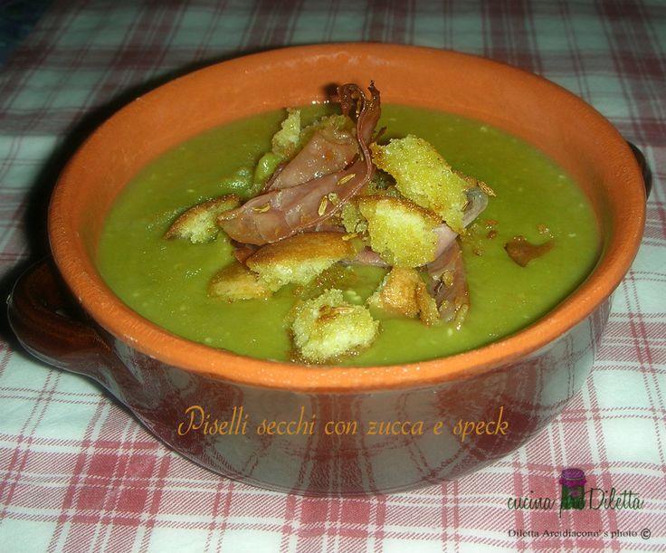 Piselli secchi con zucca e speck - ricetta zuppa di legumi | cucina preDiletta