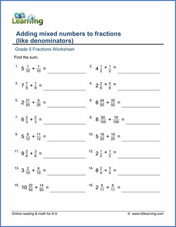grade 5 fractions worksheet adding mixed numbers to fractions home schooling pinterest. Black Bedroom Furniture Sets. Home Design Ideas