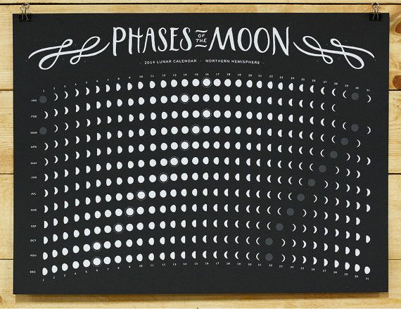 This beautiful moon phase calendar is ideal for sky-gazers.