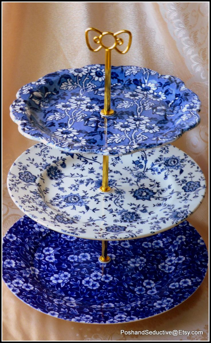 Three tier handmade cake stand in various shades of blue and white with exquisite matching rich floral pattern of English ironstone and high quality English made branded vintage china. Great look and big capacity due to the use of large sized dinner and desert plates. #blueandwhite #Englishchina #Victorian #afternoontea #teaceremony #teaparty