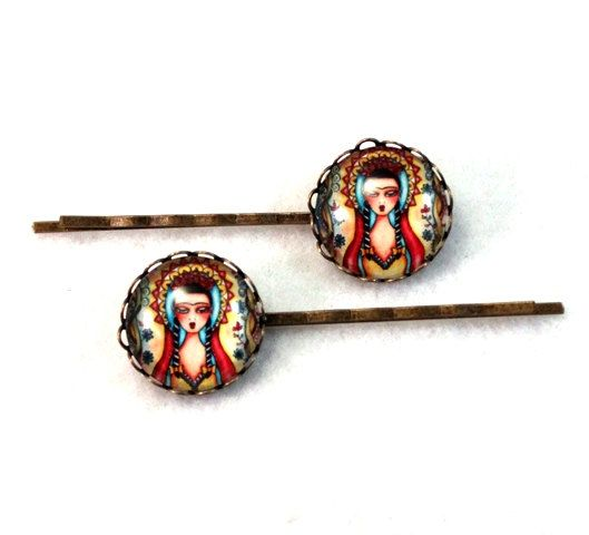 Mexican Hairclips Bobby Pins Frida Madonna Girl Art Hair Clips Bobbypins Gift for Girl Woman Teen Friend Stocking Stuffer Bronze, Red Yellow