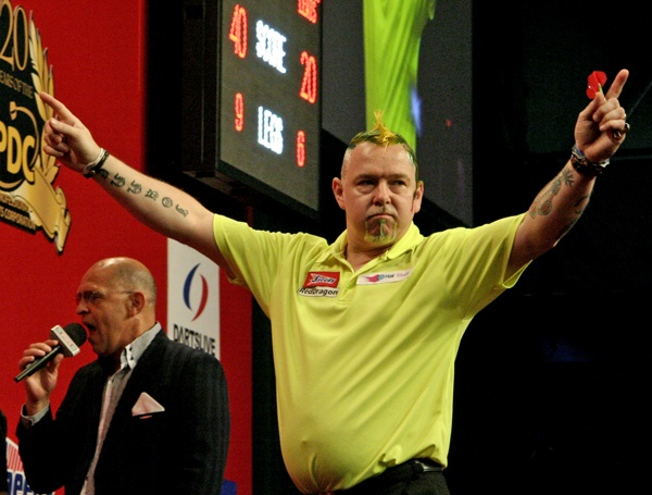 Peter Wright celebrates his quarter final victory over Adrian Lewis