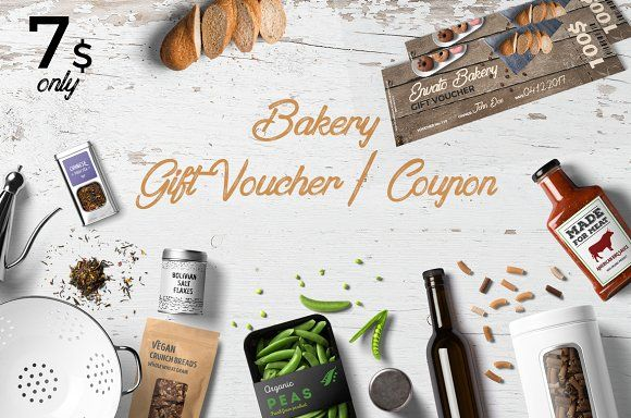 Bakery Gift Voucher/Coupon by Konakchiev on @creativemarket