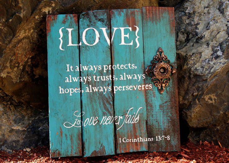 Wall Art Home Hardware : Corinthians love reclaimed pallet wood sign