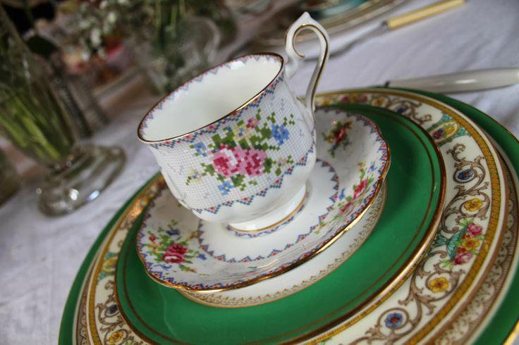 Pretty Fancy Vintage wedding place settings,