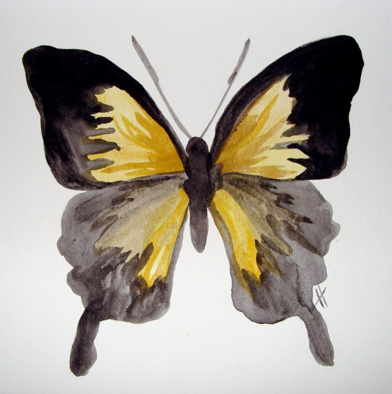 Yellow Butterfly Painting- Original watercolor