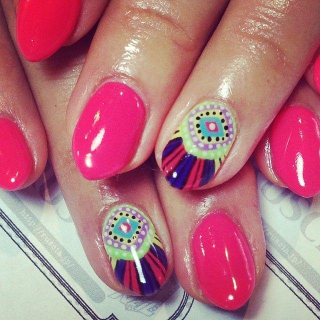 ruscia:  ERIKOのネイル☆マラ・ホフマン☆冬だけどネオンな気分です♪ #mhnails #marahoffman #nail #nailstaglam #pink  (RUSCIA)