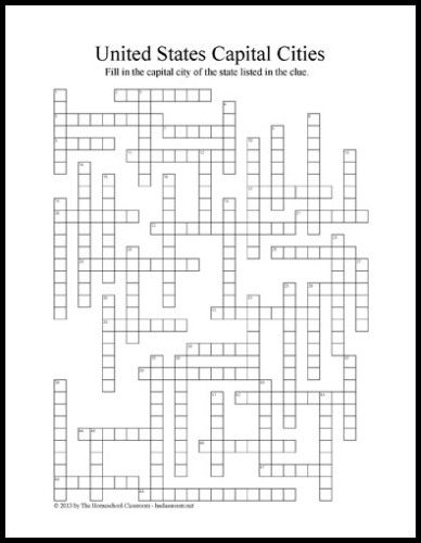 U.S. Capitals Crossword Puzzle Printable (three page printable - first page is the grid, second page is the clues, third page is the solution)