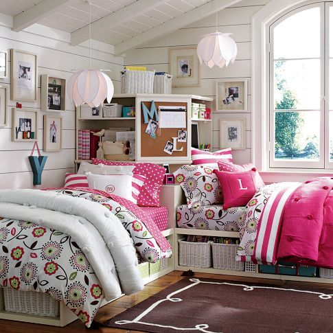 Cottage stripes pbteen cotton bedding pink pb teen rooms pinterest beds cottages - Beautiful rooms for little girls ...