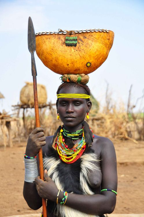 Omo Valley Ethipia - Dassanech Woman with spear http://exploretraveler.com http://exploretraveler.net