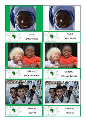 cartes nomenclature habitants Afrique Europe