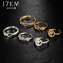 17KM Infinity Peace Love Toe Ring Sets for Women Fashion Retro Hollow Adjustable Rings Anillos Beach Foot Jewelry Lady Gifts(China)