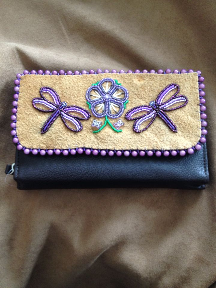 Purple Dragonfly and Purple Flower Wallet by Alaska Beadwork.