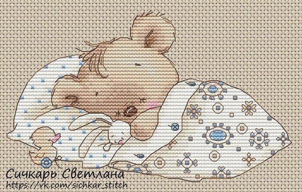 cross stitch little teddy - sleeping teddy -- so cute! - chart free pdf here vk.com/sichkar_stitch