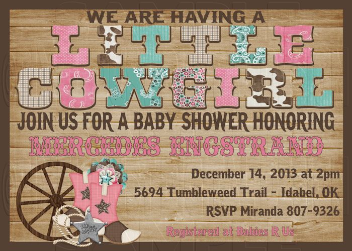 print your own little cowgirl western girl baby shower invitation
