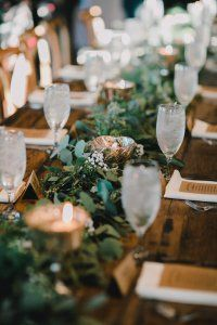 wedding head table // greenery eucalyptus garland + tea light mercury glass candles // simple, natural, rustic, elegant