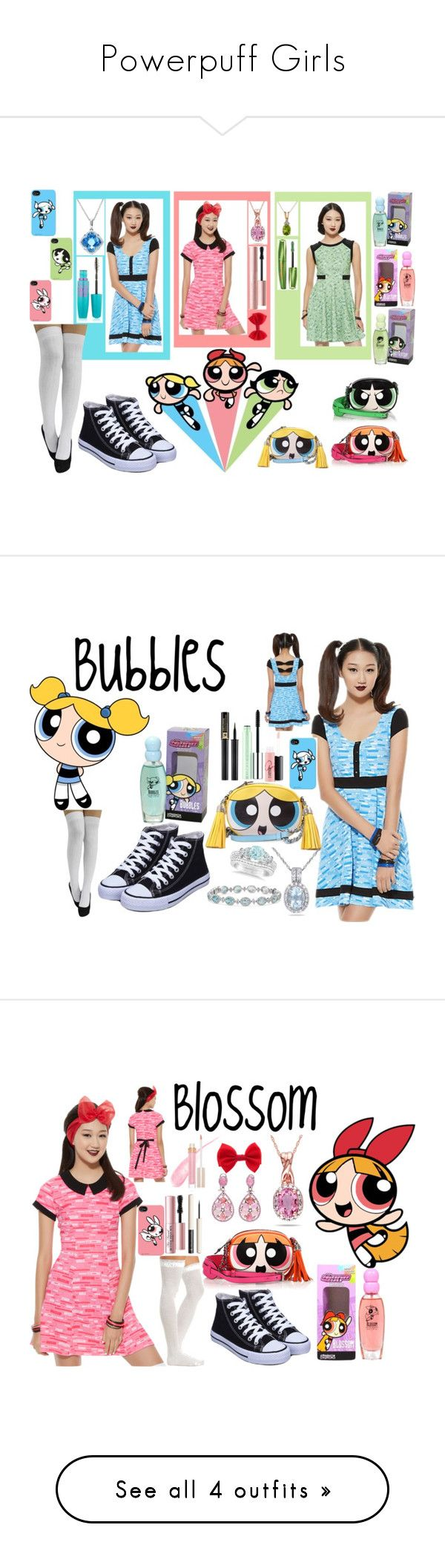 """""""Powerpuff Girls"""" by kaylajames234 ❤ liked on Polyvore featuring Cartoon Network, Effy Jewelry, Ice, Rimmel, Too Faced Cosmetics, Maybelline, Moschino, THE POWERPUFF GIRLS, Allurez and Miadora"""
