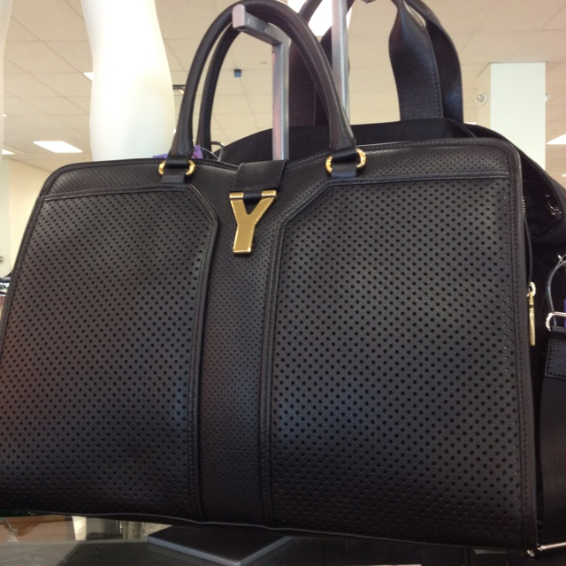 TjMaxx...YSL Cabas Chyc perforated black leather medium satchel ...