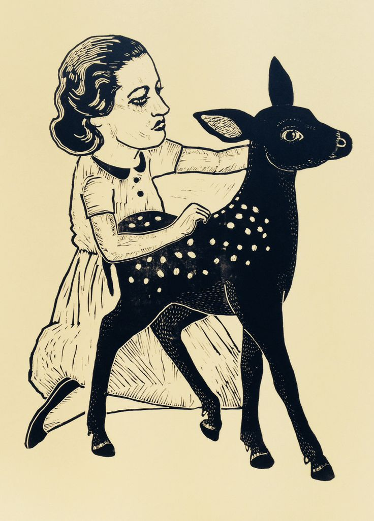 Linoprint by Monika Petersen. Dame&deer 60 x 84cm