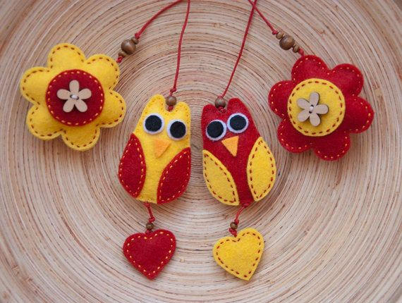 Set of two felt owl bookmarks in red and yellow by suyika on Etsy,