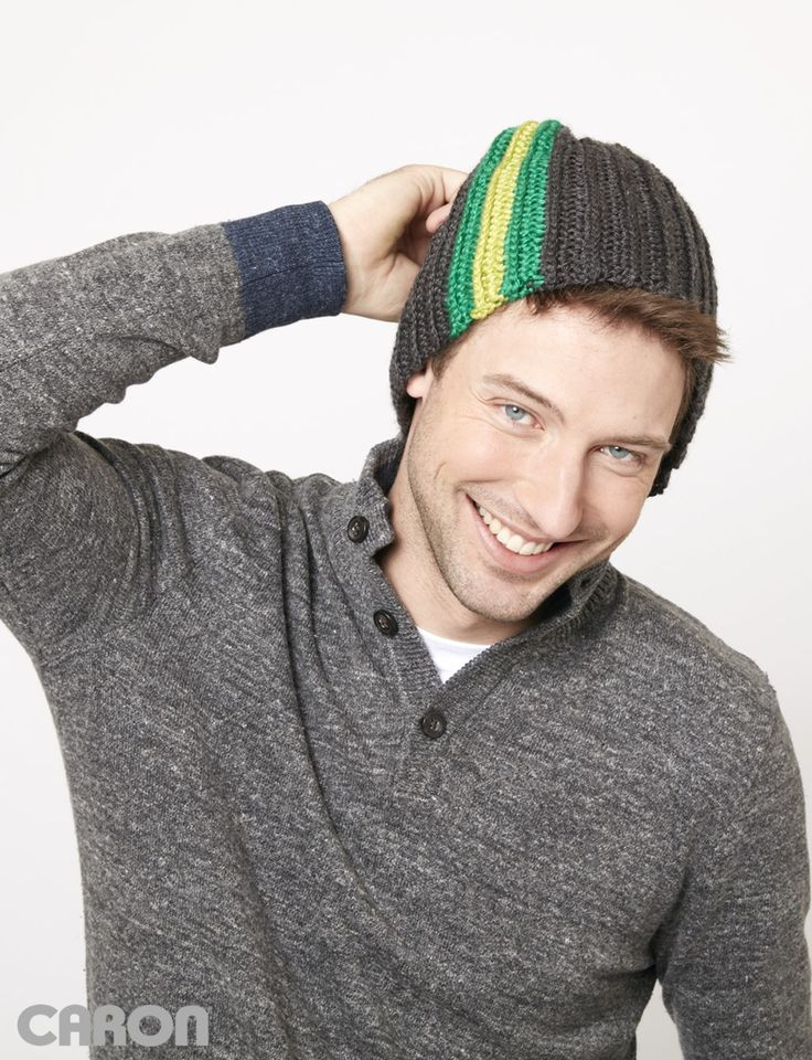 Yarnspirations.com - Caron Stripes On The Side Hat - Patterns  | Yarnspirations