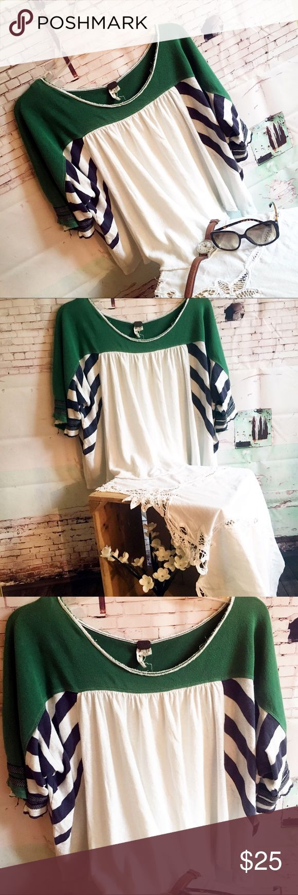 WE THE FREE Flowy White Top, Size Small WE THE FREE Flowy Smock Tee, Size Small Green navy and white 100% cotton tee.  Generous cut so will definitely fit a medium. Free People Tops