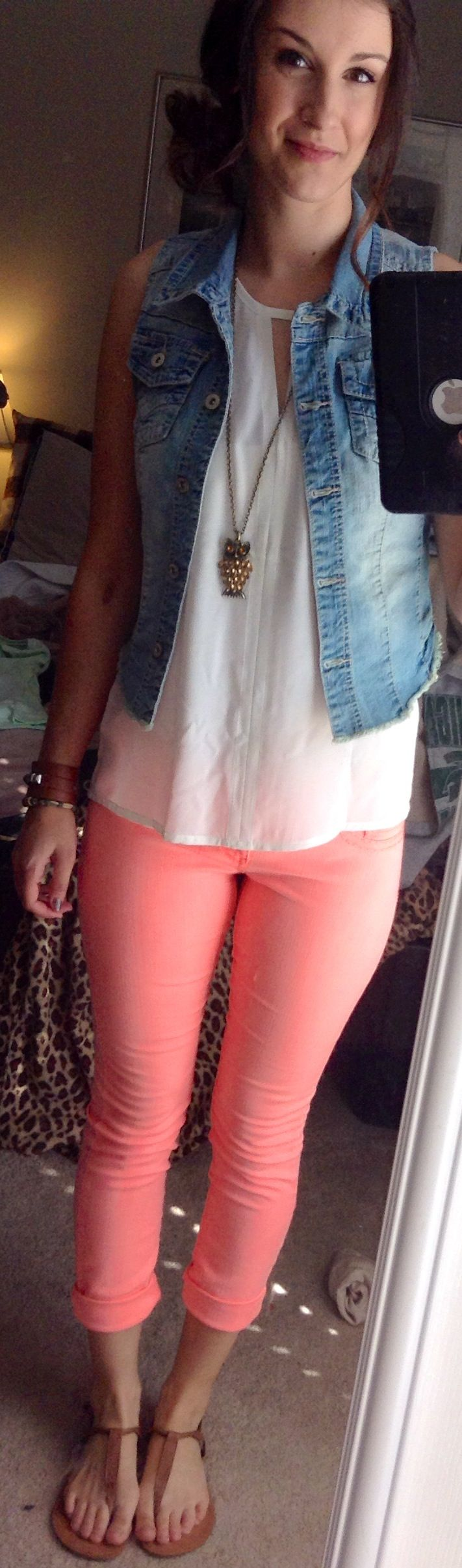 Spring outfit! Denim vest with neon skinny jeans from maurices, top from express.
