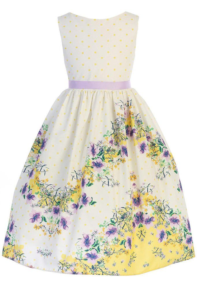 221b211e8200 Yellow Polka Dot Girls Cotton Easter Dress w. Floral Print 2T-12 ...