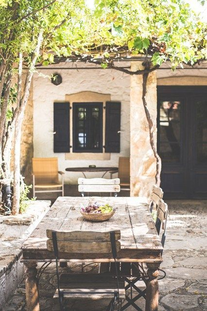 Outdoor dining terrace in Cyprus, photographed by James Bedford for Condé Nast Traveller