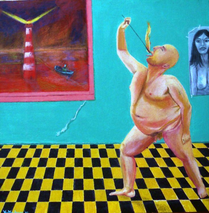 Vuurgevecht - mixed media on panel - 30x30cm 1994-© Henk van Merkom