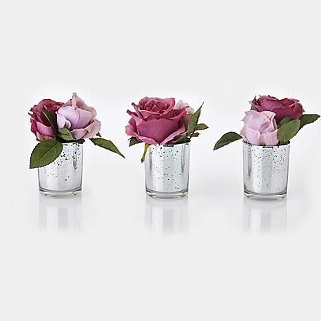 Set of 3 Roses & Mercury Glass Vase #kaleidoscope #loveflorals