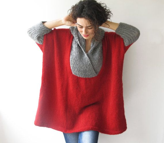 Plus Size Sweater with Hoodie Red Gray Poncho Tunic от afra