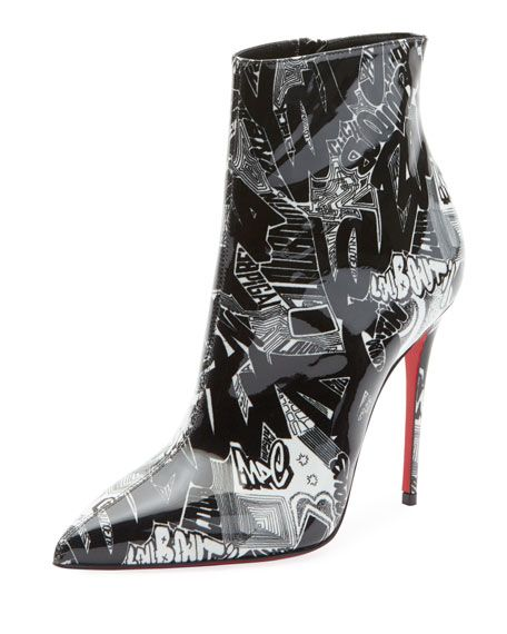 b23858a89e6 Christian Louboutin So Kate 100 Patent Nicograf Red Sole Booties ...
