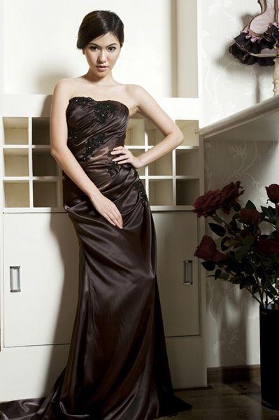 Elegant Strapless Lace-up A-line Floor Length Evening Dress