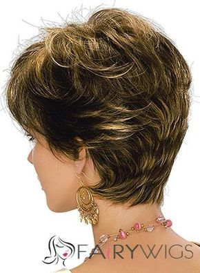 Wonderful Short Wavy Brown Remy Human Hair Wigs