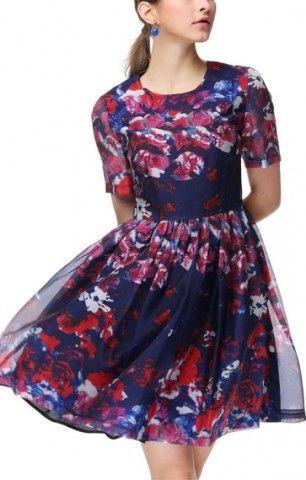 O-neck Short Sleeves Plaeting A-line Print Dress - 6ks.com