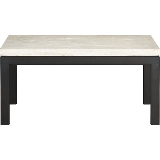 Parsons Square Coffee Table With Travertine Top Coffee Tables Crate