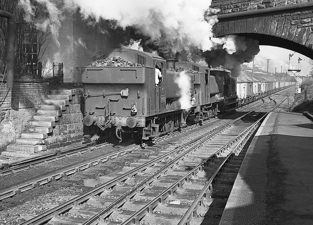 94xx class nos.8409+9493 banking through Bromsgrove station. 2 March 1963