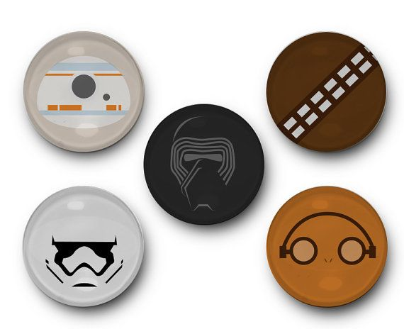 Star Wars 7 Inspired - Set of 5 Glass Magnets - Force Awakens, Kylo Ren, Rey, Storm Trooper, BB-8, hans Solo, Chewy, Chewbaca, Finn, Poe,