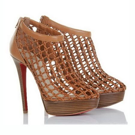 Discount Christian Louboutin Booties Coussin 140mm Brown $122.64