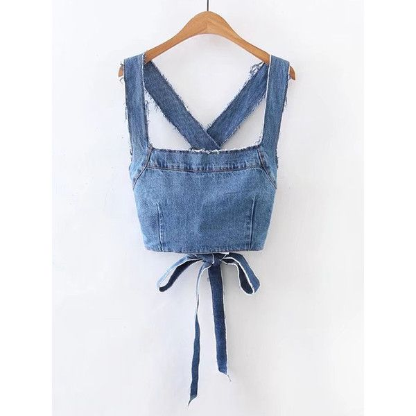 SheIn(sheinside) Frayed Detail Criss Cross Back Denim Top (4.557 KWD) ❤ liked on Polyvore featuring tops, blue sleeveless top, sleeveless collared top, spaghetti strap top, sleeveless summer tops and spaghetti strap crop top