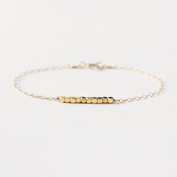 Anais - sierlijke gouden armband - 14 karaats vergulde bead armband - delicaat gouden armband - kleine kralen armband - bruidsmeisje armband