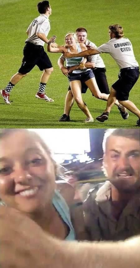 """12 Funniest """"Selfies"""" - Oddee.com A girl took an amazing selfie while getting tackled by security as she sprinted through a baseball game. The girl posted a vine of herself running onto the field during the College World Series and ended up with what is possibly the best selfie ever."""