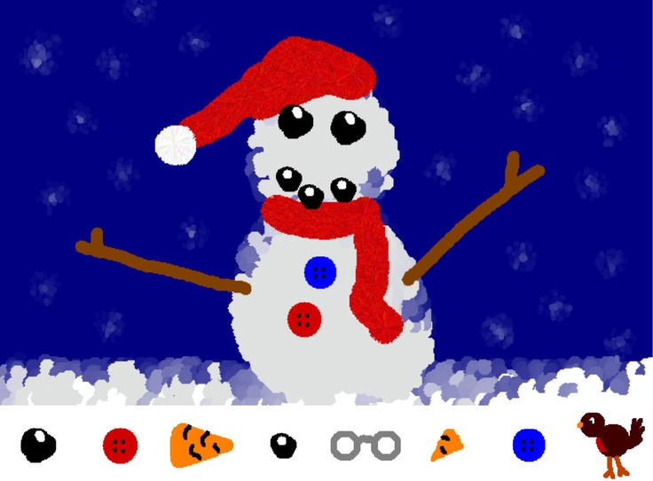 An swf file: pupils drag and drop items to create a snowman of their design.