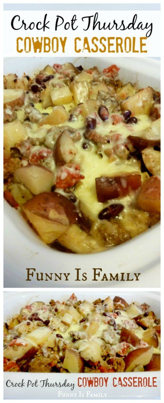 Crock Pot Cowboy Casserole from Funny is Family is an easy and family friendly idea for a slow cooker dinner that can cook all day! [featured for Casserole Crock Saturdays on SlowCookerFromScratch.com; check back every Saturday to see more slow cooker casserole ideas!]