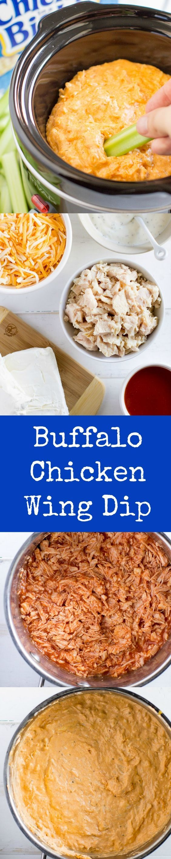 Whip up this Buffalo Chicken Wing Dip with just 5 ingredients for your next party or game day. It's hot, spicy, cool, and creamy all at once!